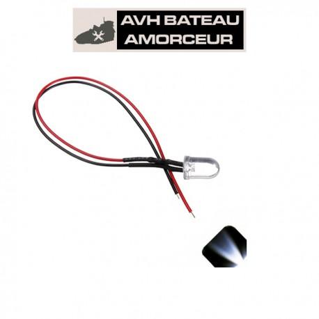 Led blanche ultra bright 6-15 volts présoudé (1 pièce)